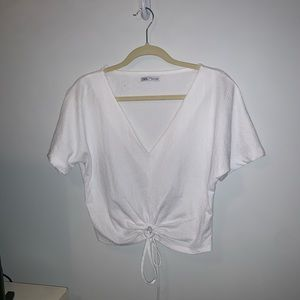 tie front white top NWOT